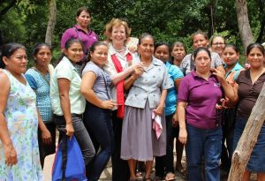 Mary Robinson with women Trocaire is supporting in Honduras
