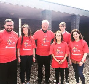 Some of the Derry group with Bishop Donal McKeown