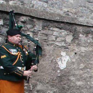 A lone piper played a lament in Kilmainham Gaol's Stonebreaker's Yard where Archbishop Diarmuid Martin layed a wreath (Pic John Mc Elroy).