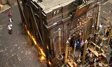 The shrine above Christ's tomb at the Church of the Holy Sepulchre