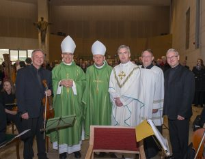 L-R: composer, Ódhrán Ó Casaide; Papal Nuncio, Charles Brown; Bishop Brendan Kelly; Fr Richard Gibbons; Fr ; conductor, David O'Doherty