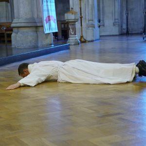Bro Philip Mulroyne prostrates himself before the altar at his ordination in St Saviour's in Dublin (Pic. Irish Dominicans)