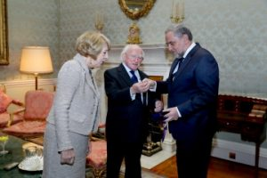 President Higgins and Sabina with delegate of the World Jewish Congress