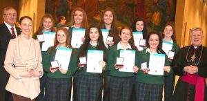 Award winners from Sacred Heart School, Westport, with Archbihsop Neary, Barry McMahon of the Knights of St Columbanus and school principal Anne Murphy