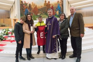 18/12/2016 The family of Anthony Foley his wife Olive and her sons Tony, 11 and Dan, 8 and Anthony's Parents Brendan and Shiela with Fr. Richard Gibbons after a special mass at Knock Shrine, Knock, Co. Mayo. Photo : Keith Heneghan / Phocus