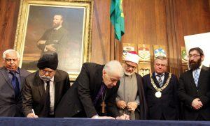 Dublin faith leaders sign new Interfaith Charter at the Mansion House. Pic: Lynn Glanville