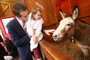 IFA President Joe Healy and 3 year old Lauren O'Callaghan, St Josephs Maryland, at opening of live crib and winter wonderland Picture: Finbarr O'Rourke