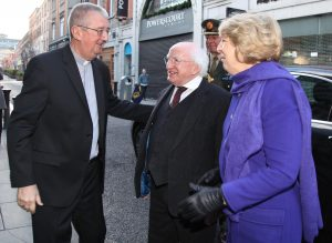 Archbishop Diarmuid Martin greeting President Michael D. Higgins and his wife Sabina on their arrival for the World Day of Peace Mass on 1.1.17. Pic John Mc Elroy.